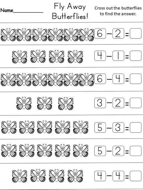 kindergarten subtraction worksheet