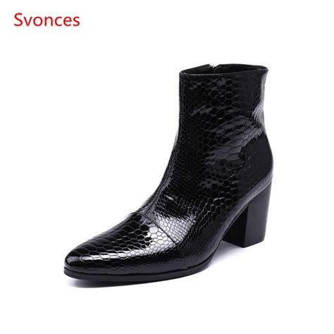Black Reptile Leathers Men Chelsea Boots Square Heel