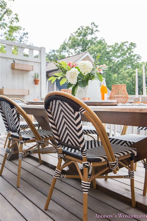 outdoor dining table decor  cutest bistro chairs