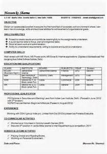 mainframe resume sle for fresher mcom resume sles for freshers