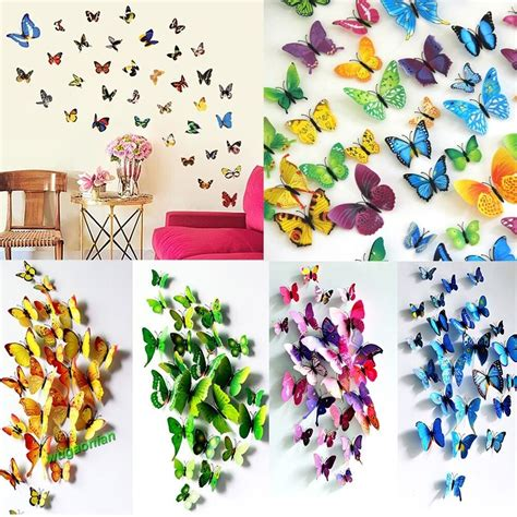 Butterfly wall stickers and how to use them in different places. 12pcs 3D PVC Butterflies DIY Butterfly Art Decal Home Decor Wall Mural Stickers   eBay