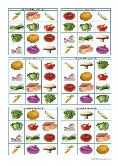 vegetable bingo flashcards worksheet  esl printable
