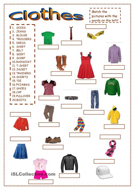esl clothing worksheets