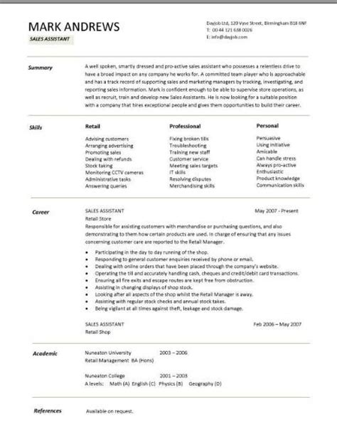 Retail Manager Resume Skills by Retail Cv Template Sales Environment Sales Assistant Cv