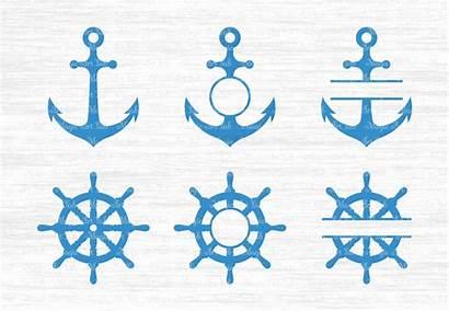 Svg Anchor Wheel Ship Monogram Split Frame
