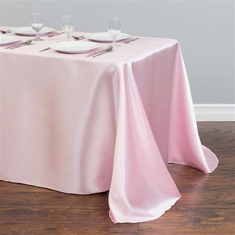 light pink table cloth 90 x 132 in rectangular polyester tablecloth light pink