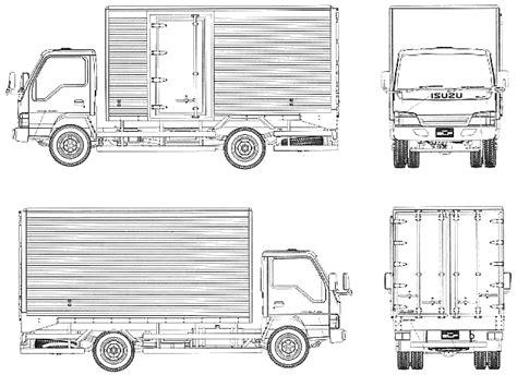 isuzu elf heavy truck blueprints  outlines