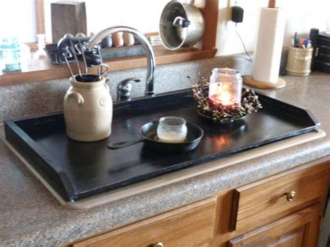 Primitive Kitchen, Tray, Black Sink Cover, Country Kitchen