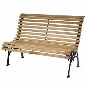 Banc De Jardin En Fonte : banc de jardin antibes banc en bois et fonte 122cm nature achat vente banc d 39 ext rieur ~ Farleysfitness.com Idées de Décoration