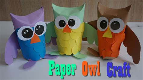 owl craft paper  kids     paper owl youtube