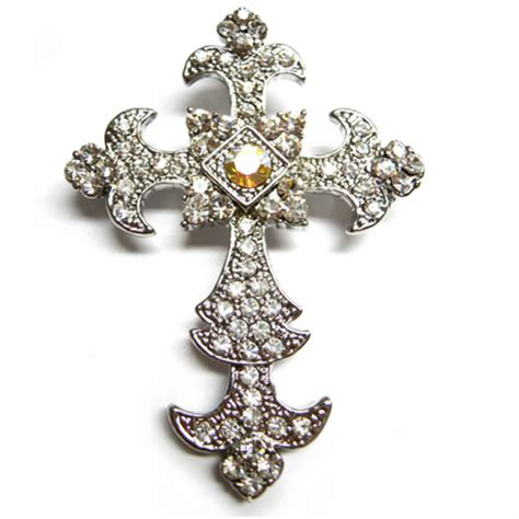 Cross Brooch Embellishments  Luxury Wedding Invitations