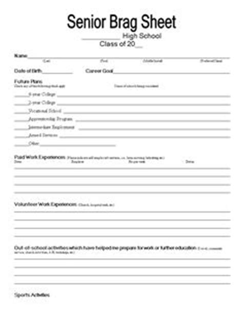 brag sheet template pdf student brag sheet doc on doctoring students school counseling and college