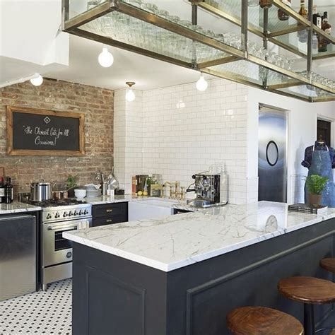 brick cuisine this kitchen brick wall tile floor open rack above