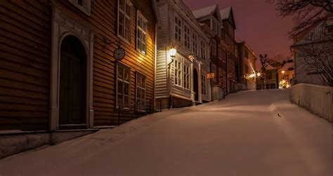 nature winter snow norway town house night lights