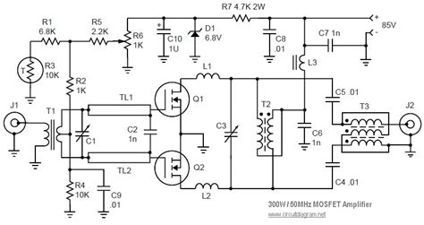 Mosfet Linear Amplifier Mhz Electronic Schematic