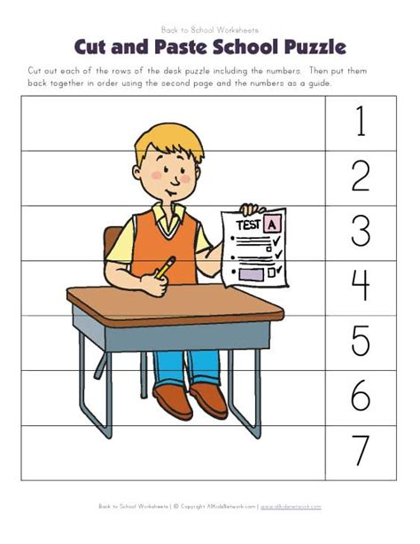 back to school cut and paste puzzle