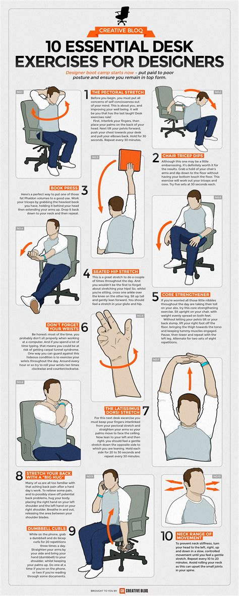Office Desk Exercises by Desk Exercises Infographic 10 Essential Routines For