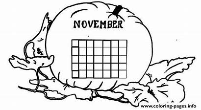Coloring November Calendar Pages Printable