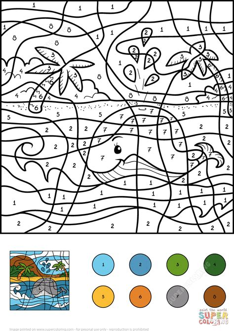whale color  number  printable coloring pages