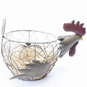 Panier A Oeuf : corbeille panier oeuf design poule avec deux oeufs d coratifs ~ Teatrodelosmanantiales.com Idées de Décoration