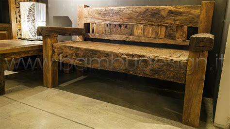 Divano In Legno Massello Erosion Wood Recycle 163x75 H97cm