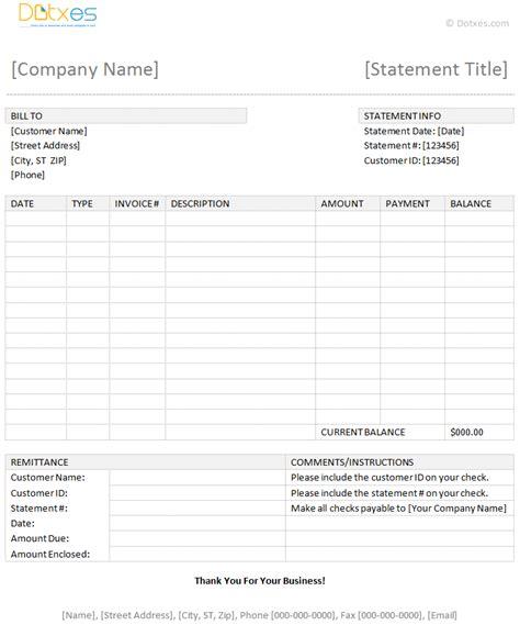 billing statement template dotxes