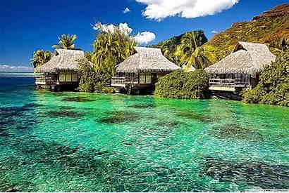 Tropical Screensavers Desktop Island Water Bungalows Wallpapersafari