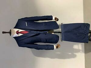 mens  piece suit navy blue tailored fit wedding prom