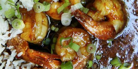 sticky ginger shrimp  scallion rice recipe