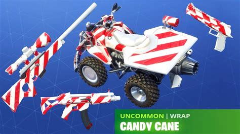 fortnite candy cane wrap   weapons vehicles youtube