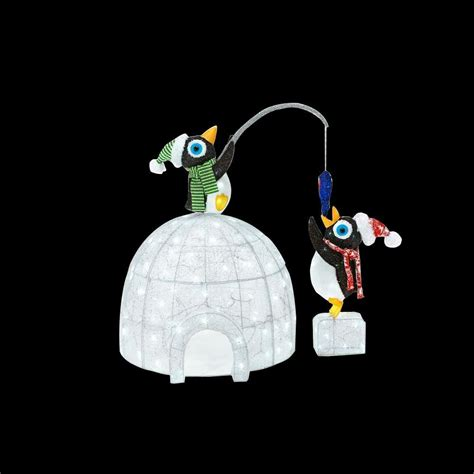 led christmas outdoor decorations home accents 48 in led lighted tinsel and acrylic igloo with fishing penguins ty251