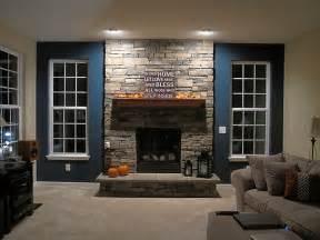 Wood Fireplace Mantels On Stone Wall