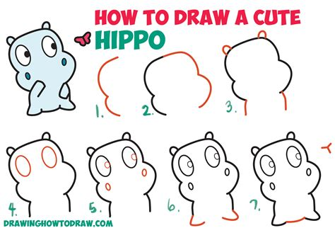 How To Draw A Cute Cartoon Baby Hippo And Butterfly Easy