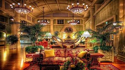 Hotel Luxury Wallpapers Lobby Hotels Anime Chandeliers