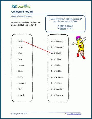 grade  nouns worksheets  learning