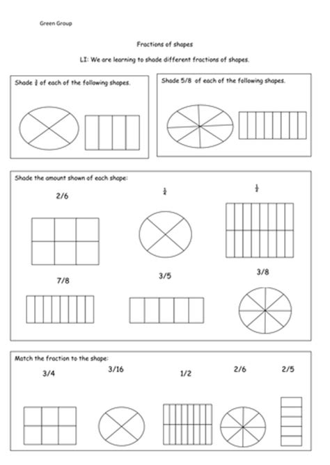 Fractions Shading Different Fractions Of Shapes By Cmclaughlin4  Teaching Resources Tes