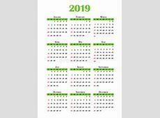Calendario 2019 stock de ilustración Ilustración de plano