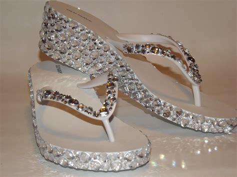 Wedding Sandals : Rhinestone Bling Flip Flop Wedge Sandals Bridal Wedding