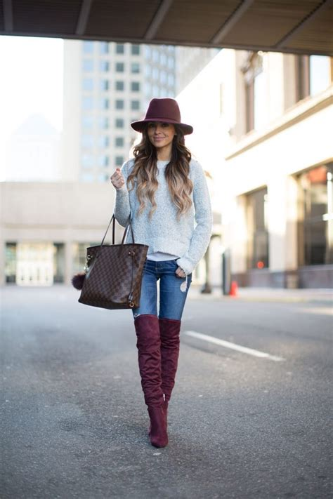 burgundy boots outfits wear fall knee diva miamiamine outfit via fabulous fashionsy accents mia source mine