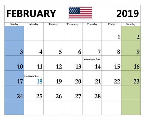 February 2019 Calendar With Holidays