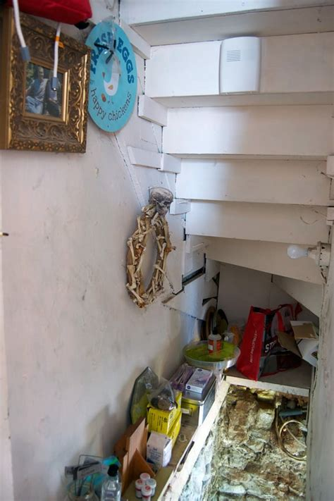 turned  basement stairs  storage  art