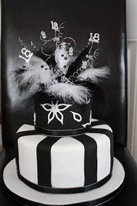 Elegant 18th Birthday cake in black and white with ...