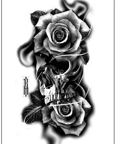 #skull #roses #rose #tattoo #design #digital #blackandgrey #bg #tattoos | TAT s 2 | Tattoos