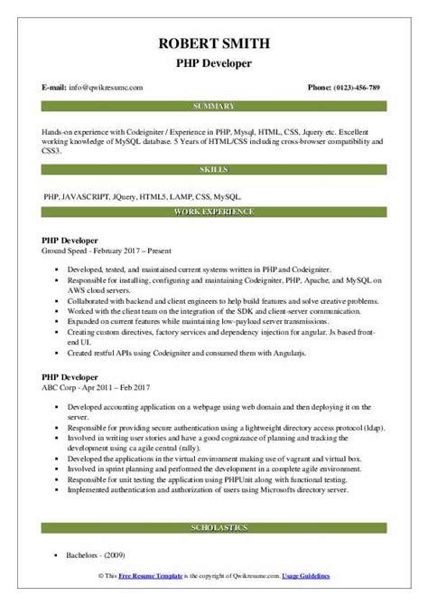 Ui Developer Resume Pdf by Php Developer Resume Sles Qwikresume