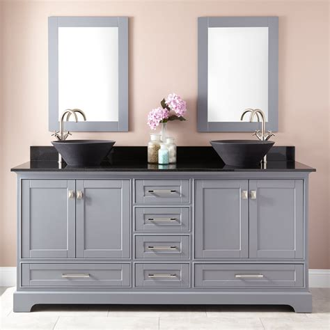"""72"""" Quen Double Vessel Sink Vanity  Gray  Bathroom. Lighted Mirror. French Country Bar Stools. Four Poster Bed Canopy. Modern Bar Stools. Snail Shower. Landscaping Ideas For Backyard. Patterned Couch. Portable Islands"""