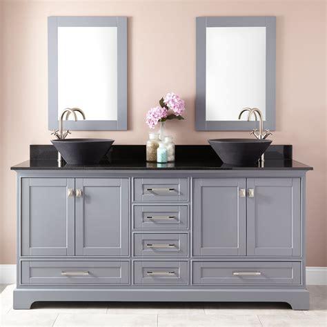 """72"""" Quen Double Vessel Sink Vanity  Gray  Double Sink"""