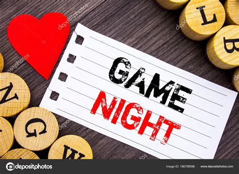 handwriting text showing game night conceptual photo