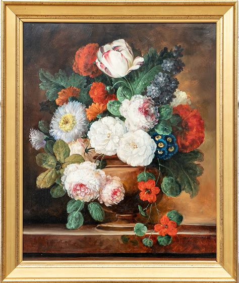 fabulous floral  life oil painting signed