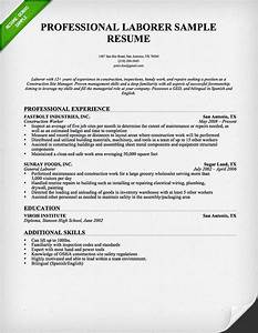 Construction worker resume sample resume genius for Construction resume template