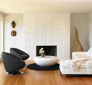 Contemporary living room with d wall panel featuring